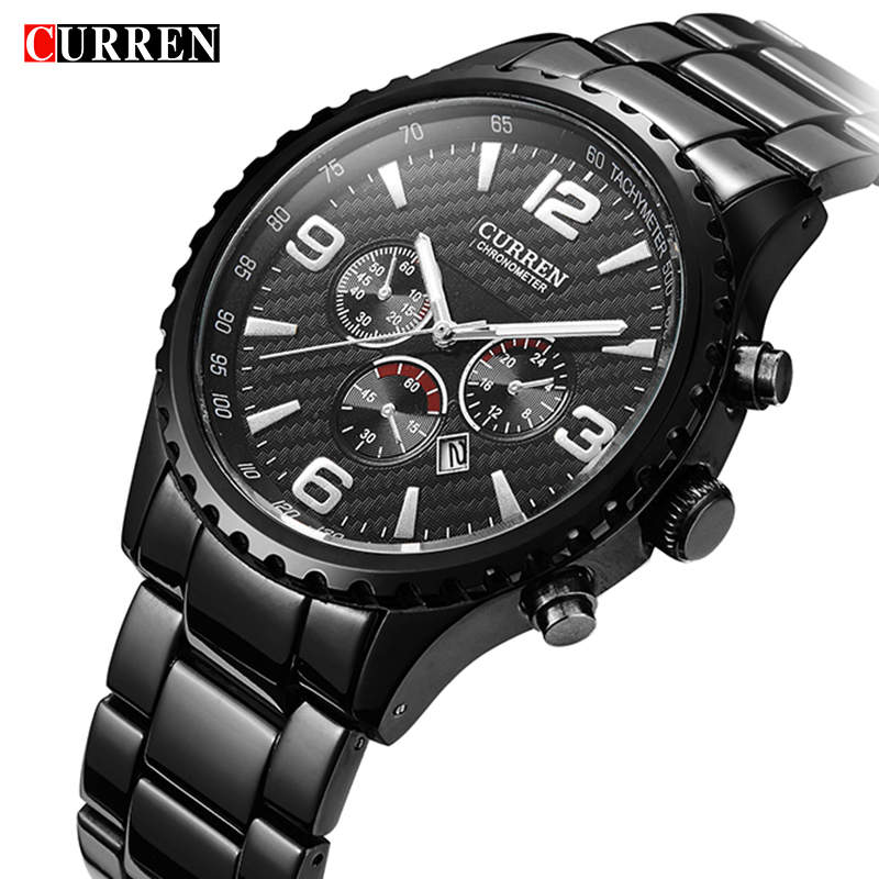 Men Watches Top Brand Luxury Date Fashion Hours Clock Male Black Stainless Steel Casual Quartz Watch Men Sports Wristwatch 8056 2017 men watches brand hour date week clock male stainless steel luxury quartz watch men casual sport wristwatch