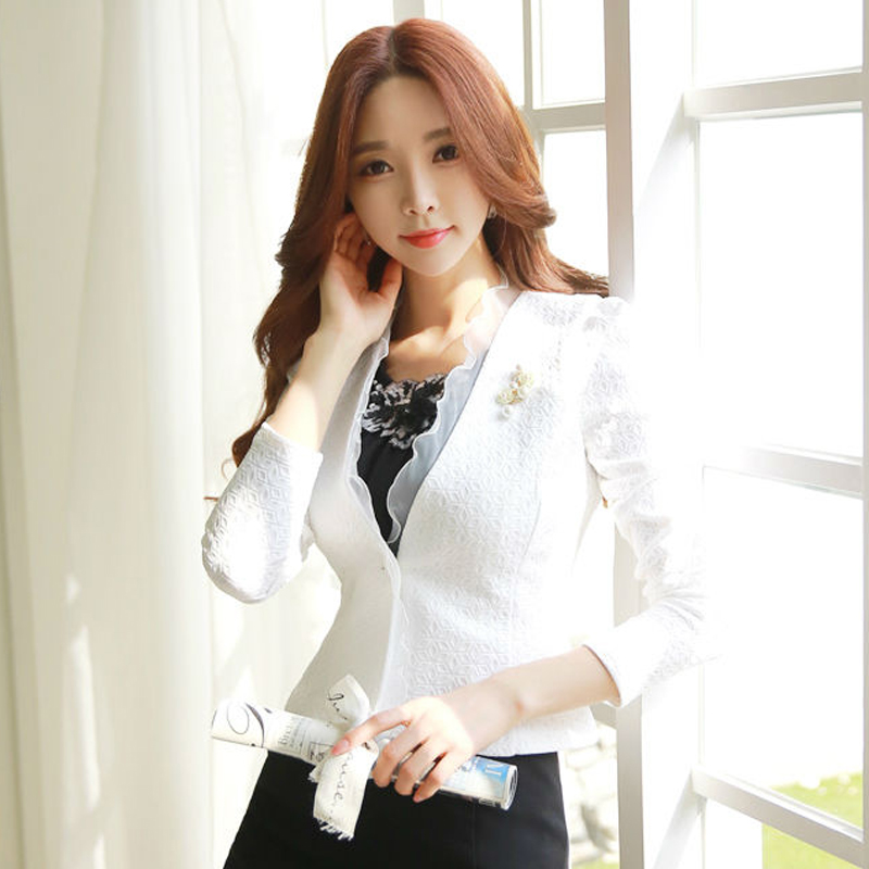 Spring Women Blazer White Black Mesh Bordered Ruffled Slim Single Button Short Blazer Long Sleeve Jacket Coat Outwear C91591