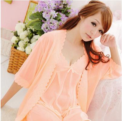 Novo desgaste Casa roupas de Verão Pijamas de seda sexy de Duas peças de Renda linda Nightgowns Sleepshirts Sono & Lounge Pijamas das Mulheres