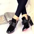 Nuevo 100% REAL PHOTO Red high heels Bottom bombas cuadrados cuero genuino del dedo del pie zapatos de las mujeres de las señoras negro Sexy femme chaussure 34-44