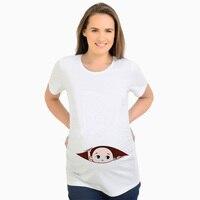 Pregnancy t shirt baby peeking out funny maternity tops tees pregnant women clothes cute peek a boo white t shirt short sleeve