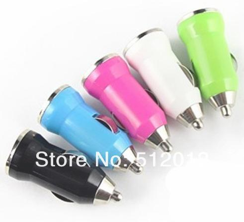 FREE SHIPPING beautiful color ring USB CAR DC MINI CHARGER FOR galaxy note IPOD IPHONE 5 MP3 MP4 AB15