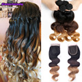 Brazilian human unice hair lace closure with bundles ombre hair blonde 4 bundles with closure 1b/4/27 three tone virgin hair