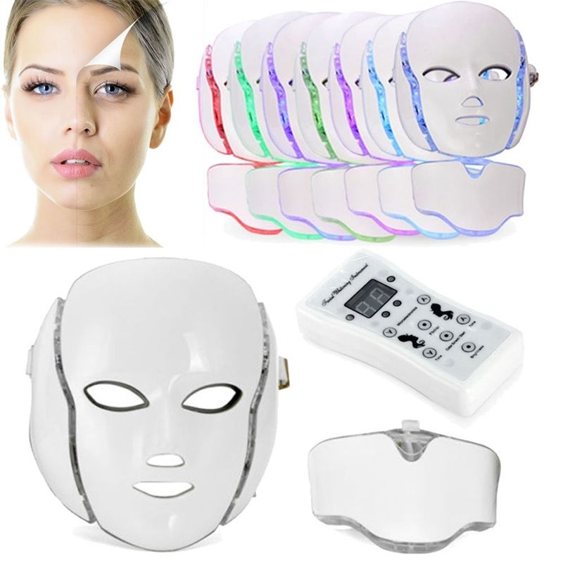 PTD Photon LED Face and Neck Mask 7 Color LED Treatment Skin Whitening firming Facial Beauty Mask Electric Anti-Aging Mask 1000g spa quality collagen whitening mask soft powder peel off facial treatment
