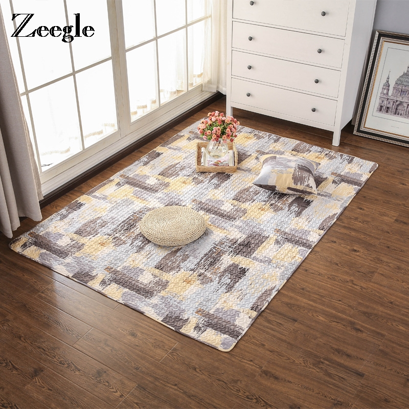 Zeegle Nordic Style Cotton Bedroom Carpet Cartoon Animal Mat Carpet Kids Room Toy Storage Organizer Crawling Rugs Home Decor