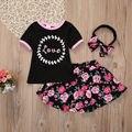 3 pcs 2017 criança crianças roupa infantil das crianças das crianças do bebê t-shirt das meninas tops floral saias outfits set party dress 1-6y