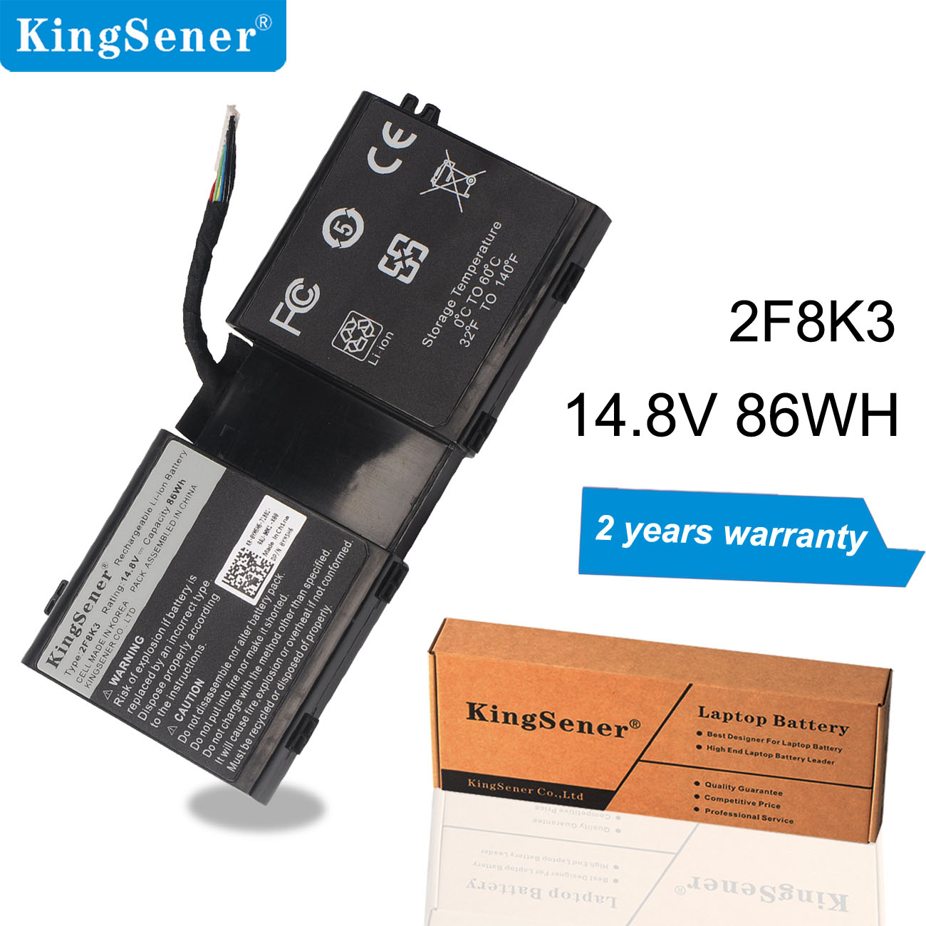 Kingsener 2F8K3 Laptop Battery For Dell <font><b>Alienware</b></font> 17 <font><b>R1</b></font> 17X <font><b>M17X</b></font>-R5 <font><b>Alienware</b></font> 18 <font><b>R1</b></font> 18X M18X-R3 Series 02F8K3 KJ2PX 14.8V 86Wh image
