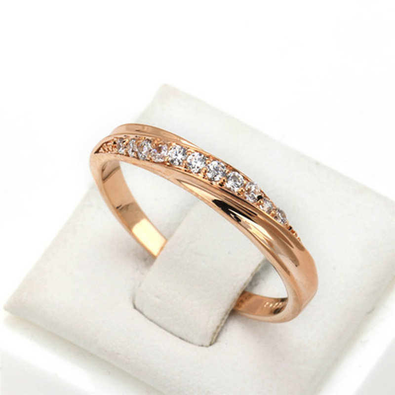 Romad Finger Ring for Women Lady Paved Cubic Zirconia CZ Luxury Rose Gold Color Wedding Engagement Ring Jewelry Bague Femme