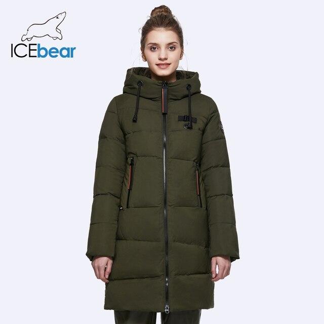 ICEbear 2018 Для женщин зимние Куртки и Пальто и пуховики планка молнии тепло и морозостойкость шнурок с капюшоном ветронепроницаемая парка 17G661D