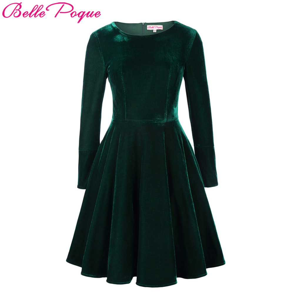 479e5710c8fd Belle Poque Winter Velvet Dress 2018 Big Swing Long Sleeve Green Tunic  Elegant Women Clothing Casual Retro Vintage Party Dresses-in Dresses from  Women s ...