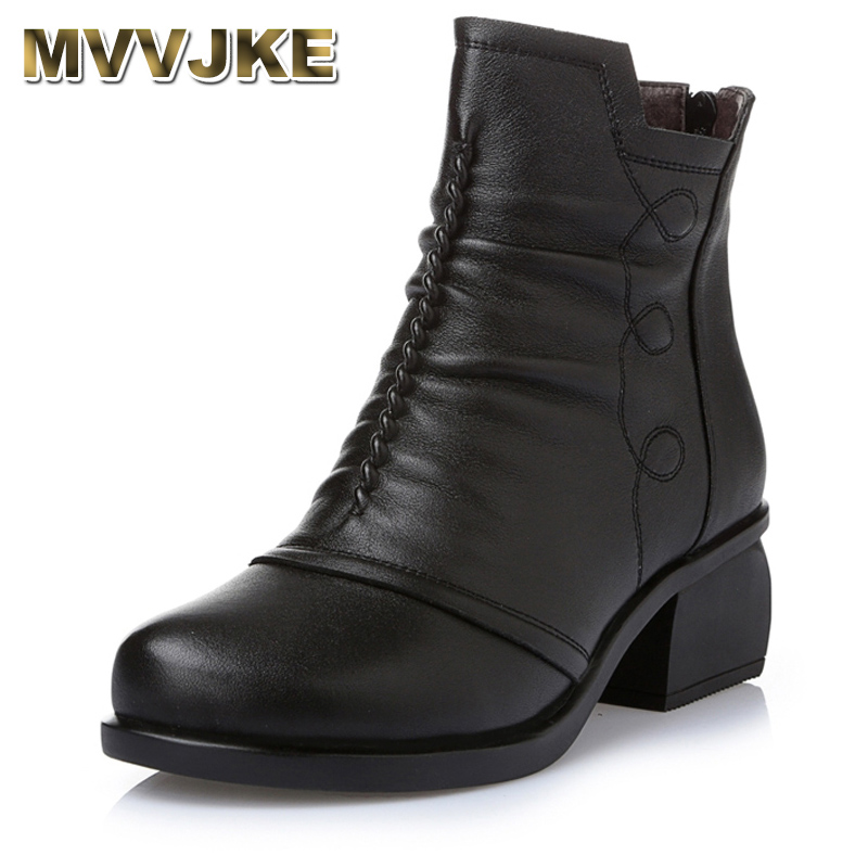 MVVJKE New Arrivals Autumn Winter Women Ankle Boots Genuine Leather Short Booties Large Size Boots Women With Fur Shoes E007 e007 page 7