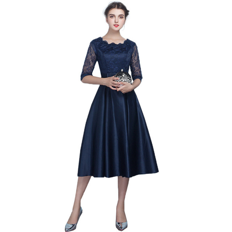 Holievery Lace Satin Short   Bridesmaid     Dresses   with Half Sleeves 2019 Knee Length Party   Dress   Navy Black Champagne