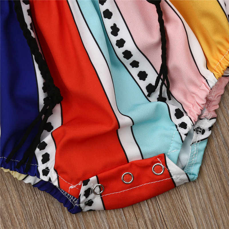 Bé Gái Sọc Bodysuit 2019 Thương Hiệu Mới Sơ Sinh Trễ Vai Ren Áo Chống Nắng với Dây Bé Gái Quần Áo Bông 0- 24 M