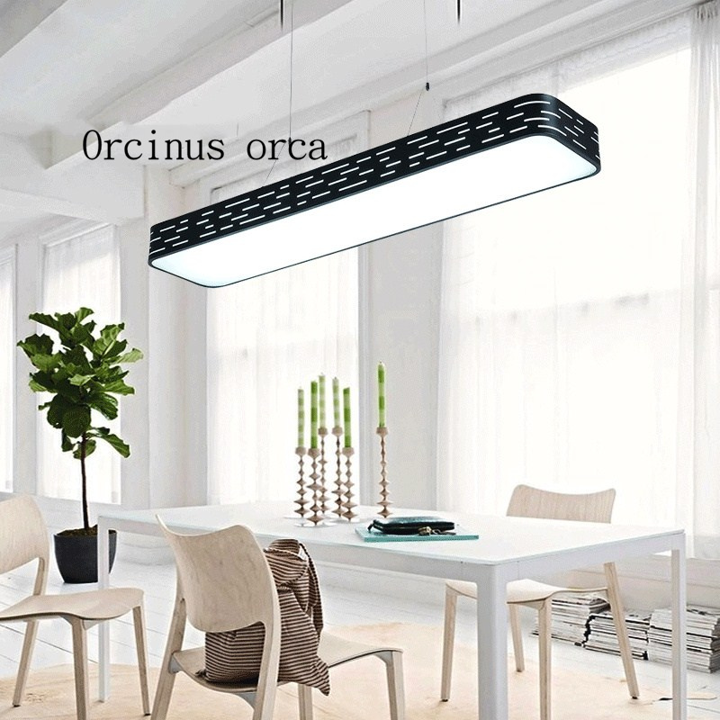 US $109.8 10% OFF|Ultra bright LED office chandelier modern minimalist  rectangular dining room lamp lamp studio studio Chandelier-in Pendant  Lights ...