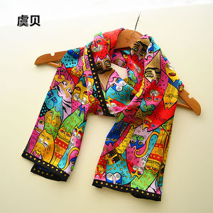 Image 5 - Colorful cats long scarf women sunscreen soft thin printed natural silk scarves wrap shawl foulard femme bandana gift for ladies