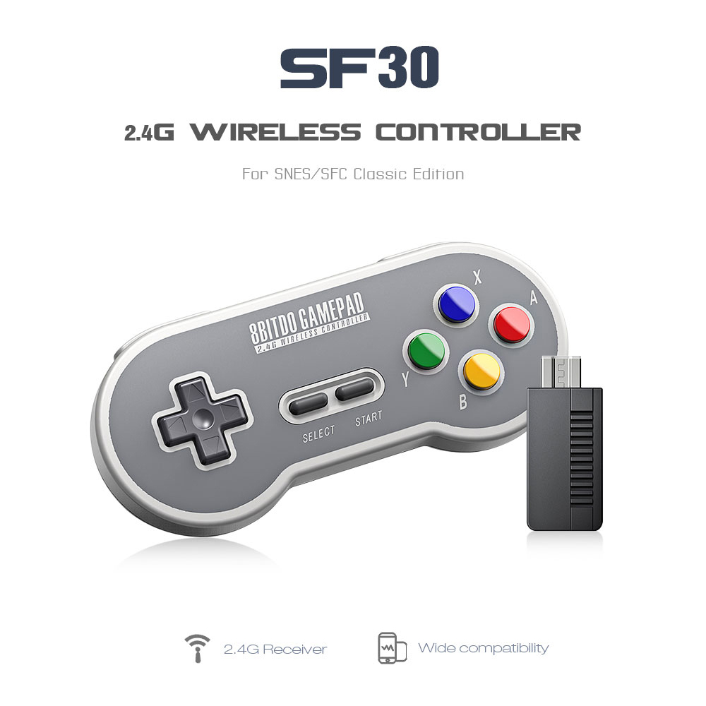 8BitDo SF30 Gamepad Wireless Game Controller with 2.4G NES Receiver for Android PC Mac 9