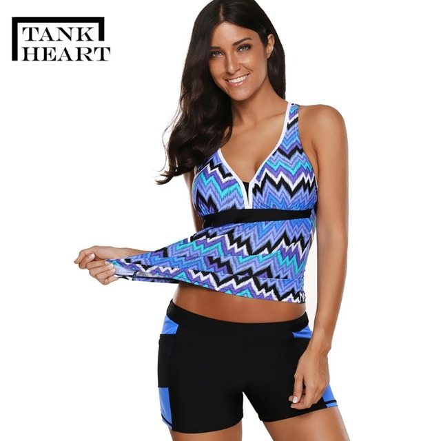 dc2f3d5da4fd3 Tank Heart Two Piece Swimsuit Tankini Swimsuits Women Shorts Swim Suit  Bikinis Biquini Plus Size Swimwear 2 piece swimsuits XXXL