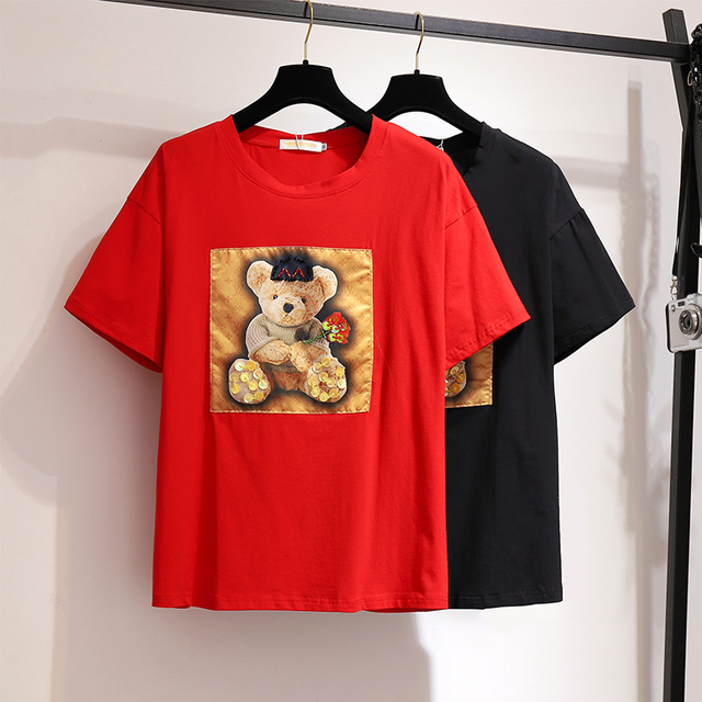 Women TShirt Plus Size 6XL3XL Cotton Maxi Black Tshirt  Bear Printed Tops 2019 Summer Korean Loose Short Sleeve Women's Clothing