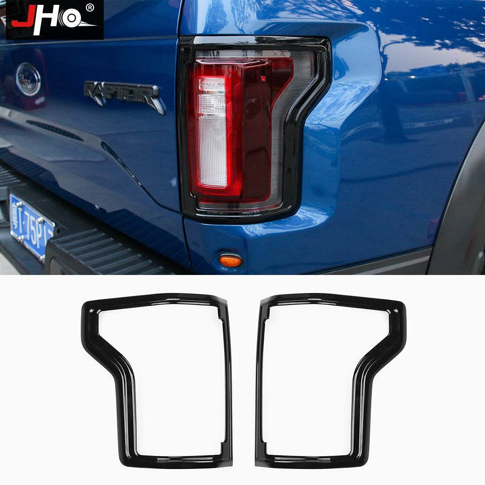 JHO 2pcs Black ABS Tail Light Frame Decors Cover Trim For Ford F150 Raptor 2016 2017 2018 Exterior Pickup Accessories Styling for f150 raptor f 150 led tail light rear lights for ford 2008 2012 year smoke black sn