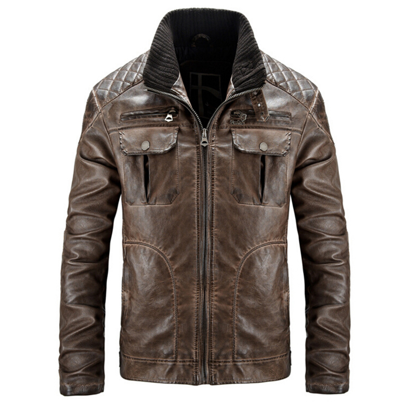 Winter Leather Jacket Men Motorcycle Leather jackets jaqueta de ...