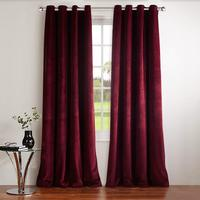 Nicetown Classic Velvet Textured Woven Home Theater Grommet Top Blackout Curtains (One Piece, W52xL84/96 inch, Ruby Red)