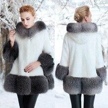 2018 new fur imitation mink coat long hat womens size