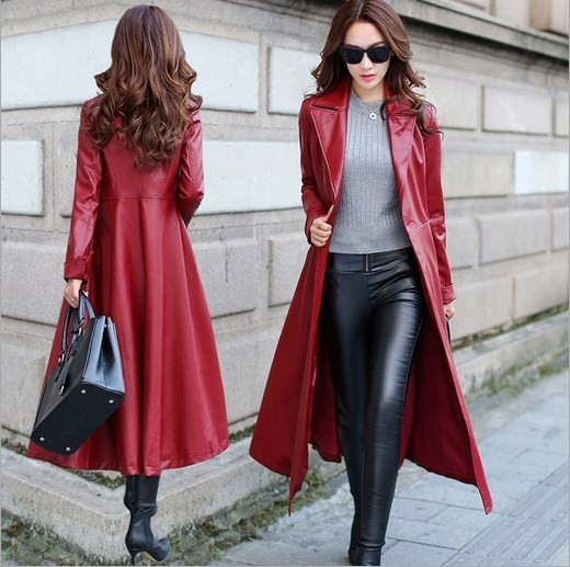 US $72.35 5% OFF|Damen Faux Leder Lange Jacken Frauen Pu Leder Graben Mantel Plus Größe Weibliche Kalb Länge Oberbekleidung Schwarz Rot XXXL in Leder