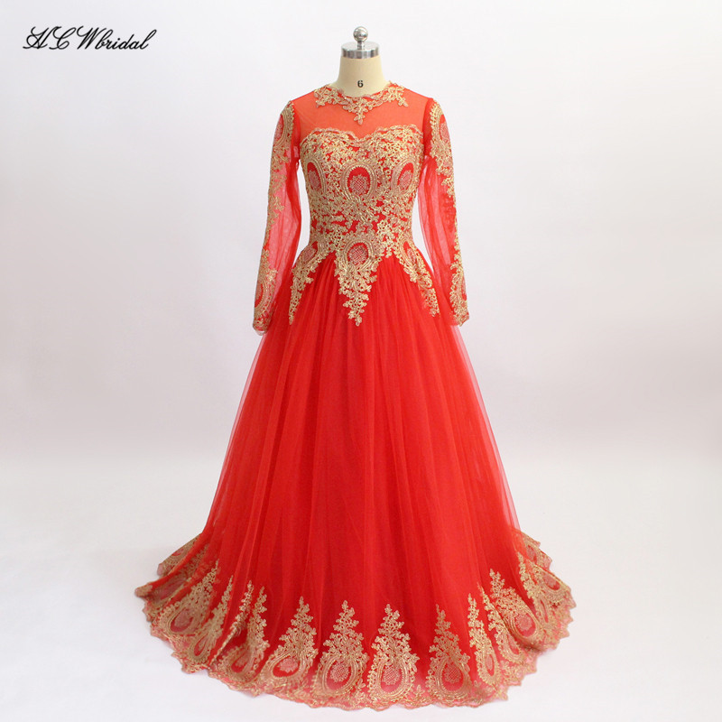 Vintage Red Long Sleeve Arabic Evening Dress 2018 A Line Floor Length Gold Lace Sheer Prom