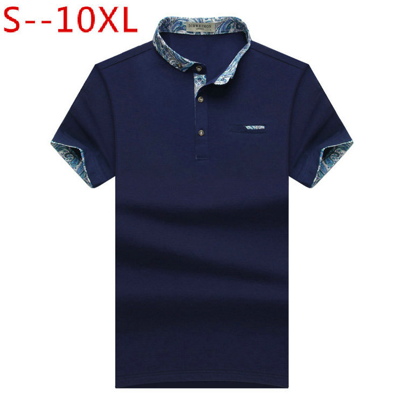 2019 New Brand New Floral Collar Men   POLO   Shirts Summer Style Short Sleeve Shirts Camisas   Polo   Plus Size 6XL 7XL 8XL 9XL 10XL