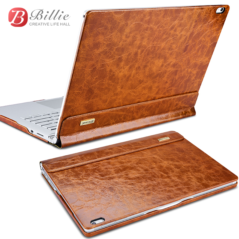 For surface book case Oil Wax Vintage Genuine Cowhide Leather case for surface book 13.5 with stand function Laptop Iiner cover fierre shann for iphone 7 plus cowhide genuine leather skin hard case with ring holder red
