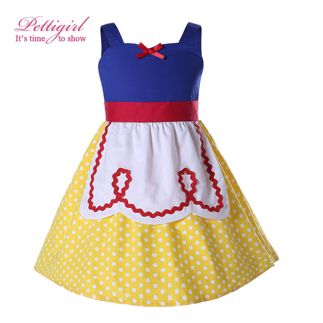 Pettigirl Snow White Girls Costumes Summer Dress Yellow Dot Baby Girl Cotton Dress