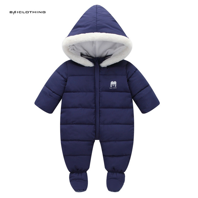 5527f97c63b0 Thick Warm Infant Baby Rompers Winter clothes Newborn Baby Boy Girl ...