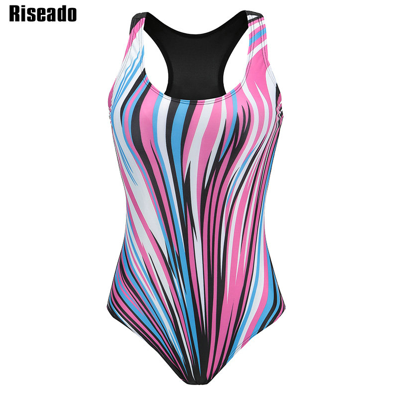 Riseado Sport One Piece Swimsuit Competitive Swimwear Women Striped Printed Plus Size Bathing Suits 2018 Summer Beach XXXL printed bohemian low back one piece swimwear