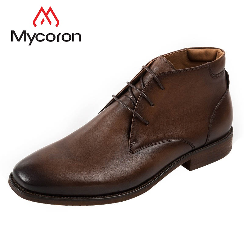 MYCORON Autumn And Winter New Leather Men Shoes Luxury Fashion Men Casual Boots England Retro Men Leather Boots Boots Homme mulinsen new 2017 autumn winter men
