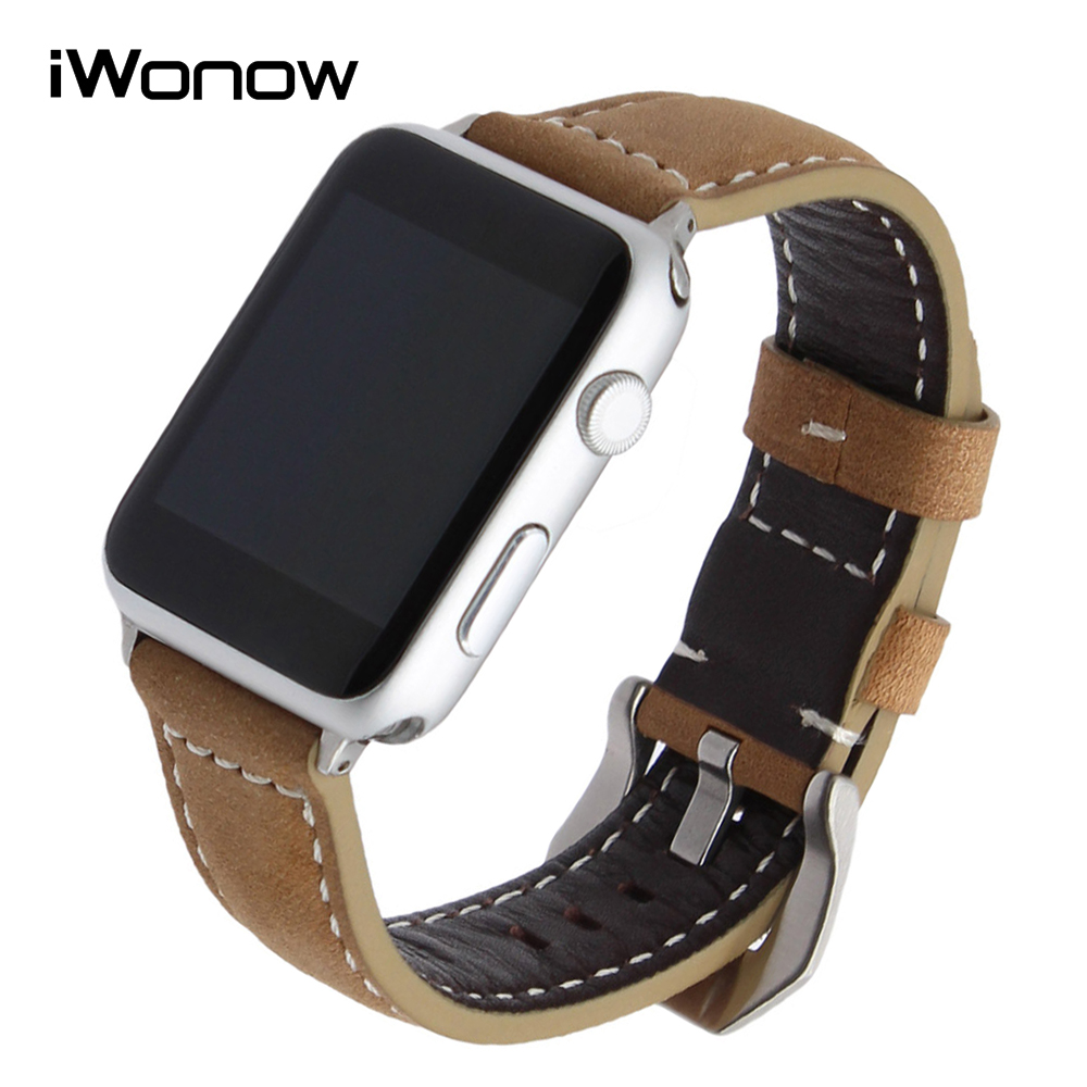 Vintage Genuine Cow Leather Watchband + Adapter for 38mm 42mm iWatch Apple Watch Series 1 2 3 Handmade Strap Wrist Band Bracelet 6 colors luxury genuine leather watchband for apple watch sport iwatch 38mm 42mm watch wrist strap bracelect replacement