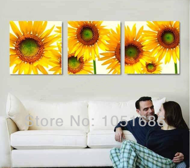 Hand Painted Modern 3 Piece Sets Canvas Sunflowers Oil Painting ...