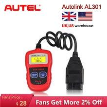 Autel AutoLink AL301 OBDII & CAN رمز القارئ السيارات لينك AL 301 السيارات ماسح ضوئي تشخيصي أداة obd 2 الماسح الضوئي لتحديث السيارة مجانية