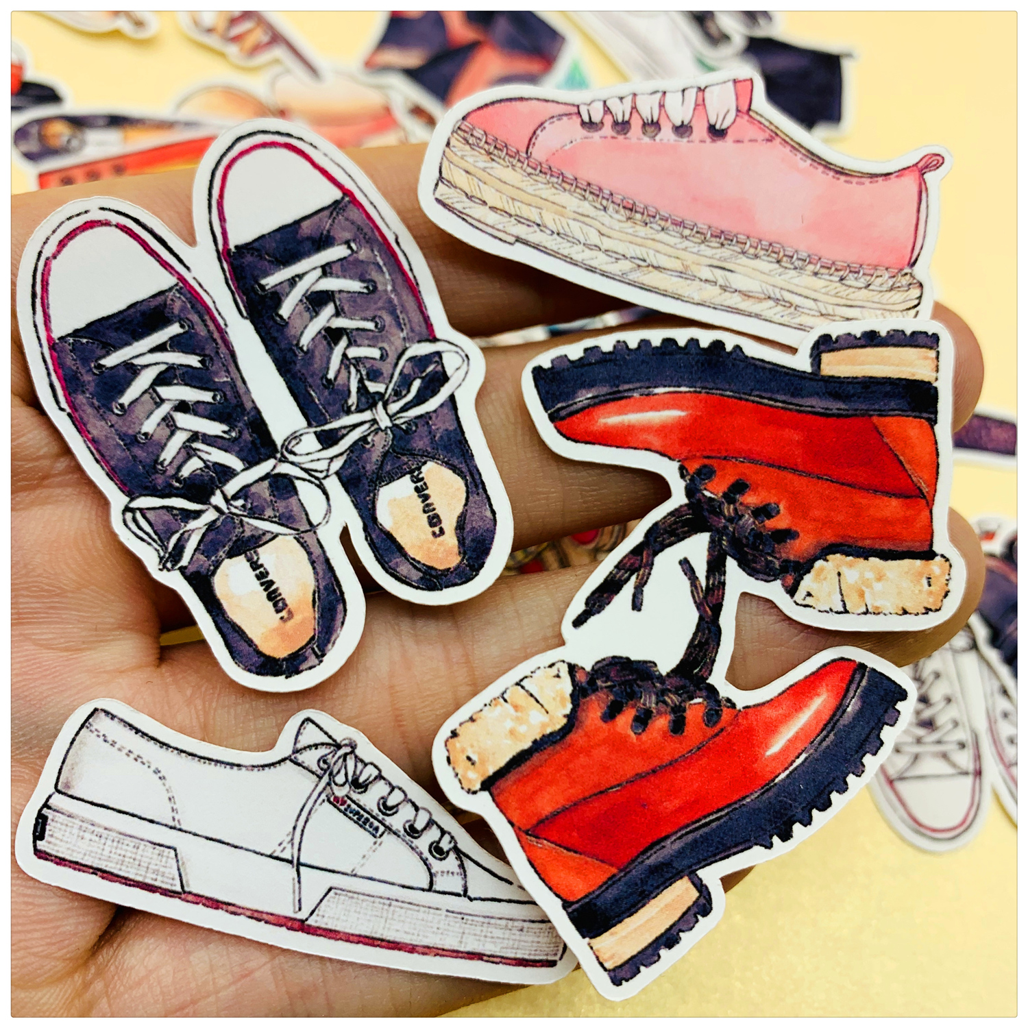 37pcs Hand Drawing Handbook Sticker Pack Hand-painted Gym Shoes Sandals Sticker Decoration Diary Decoration To Adopt Advanced Technology