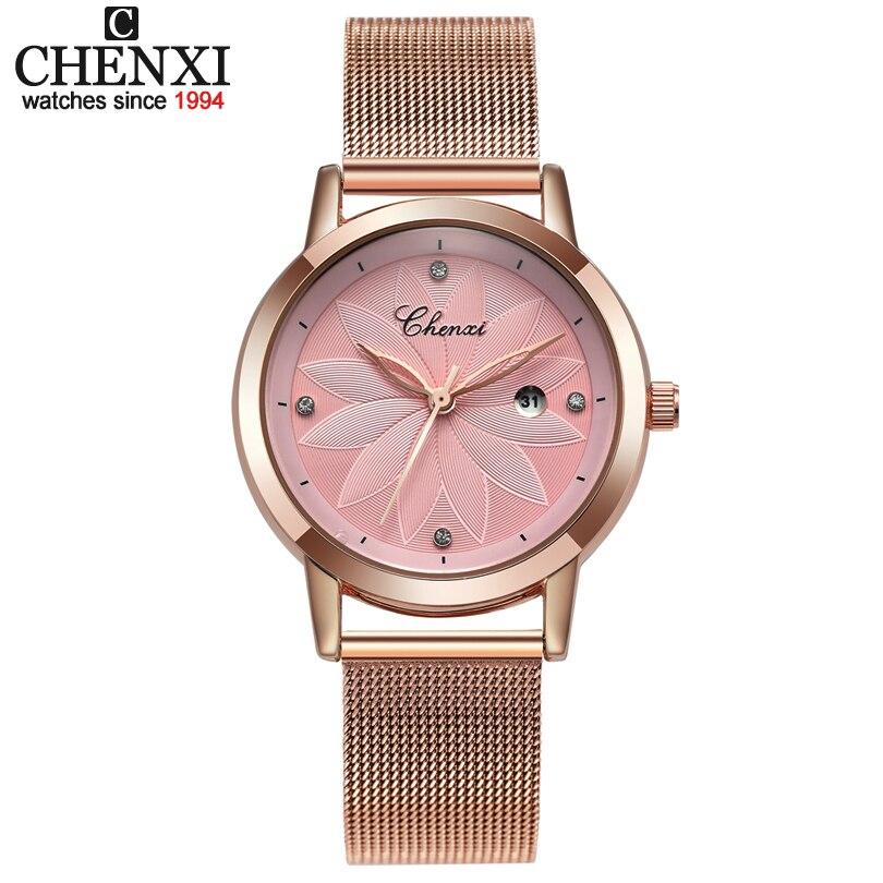 CHNEXI Simple Rose gold Mesh Stainless Steel Watches Women Brand Luxury Casual Clock Ladies Wrist Watch Lady Relogio Feminino