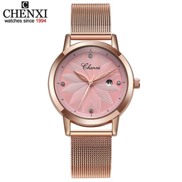 96d177c2928 CHNEXI Simples Malha Rosa de ouro Relógios Das Mulheres Marca de Luxo  Casual Relógio de Aço