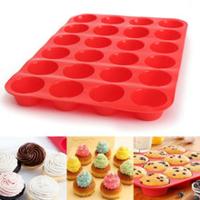 Mini Muffin Cup 24 Cavity Silicone Cake Molds Soap Cookies Cupcake Bakeware Pan Tray Mould Home DIY Cake Tools Baking Tools