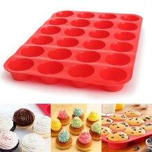 Mini copo de muffin 24 cavidade moldes de bolo de silicone biscoitos de sabão cupcake bakeware pan bandeja molde casa diy ferramentas de bolo ferramentas de cozimento