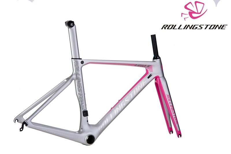 rolling stone finder road carbon frame set aero road bicycle frame road bike frame silver pink 45cm 47cm