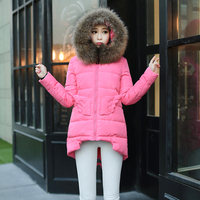 Nice New Design Winter Jacket Women Real Fur Collar Hooded Duck Down Long Parka Elegant Angle Wings Down Jackets And Coats S2282
