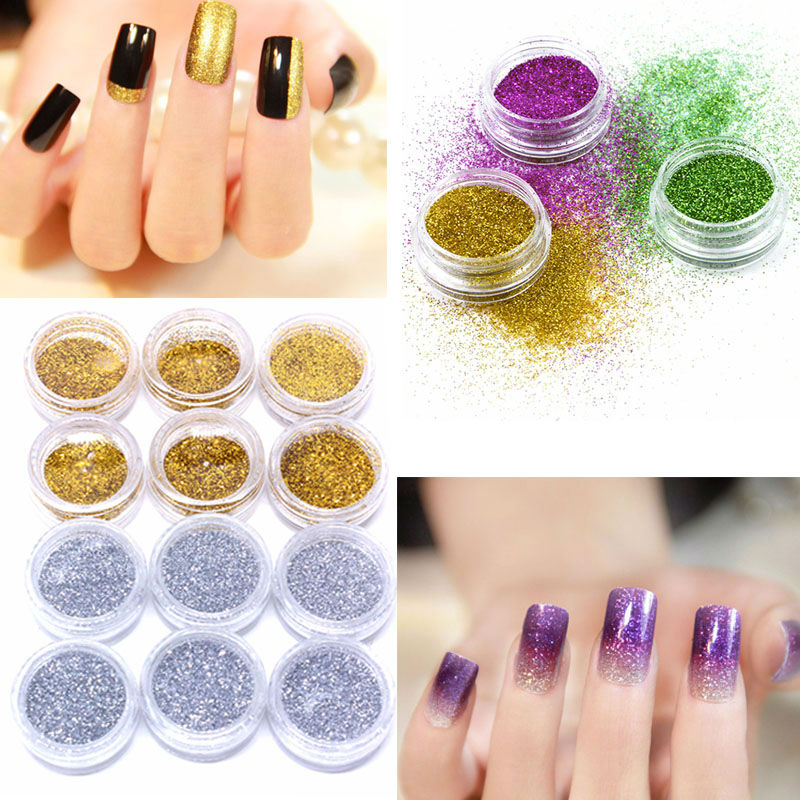 12pcs Gold Silver Mixed Colors Shiny Nail Art Glitter Dust Powder ...