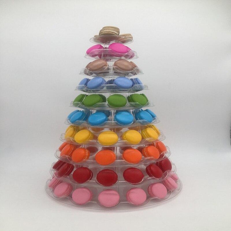 10 tiers Macaron Macaron Torre Bolo Display Stand Dobrável Carrinho de Exposição De Decoração De Casamento Festa de Aniversário Decoração