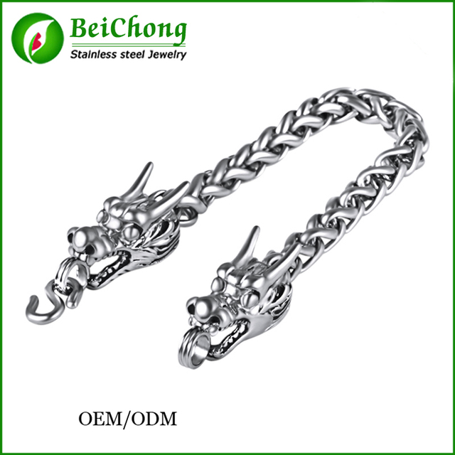 (10 pcs)Wholesale Stainless steel Silver and gold Black Dragon Bracelets Men Jewelry 2016 New Arrival Items Free Shipping