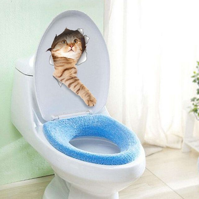 1PC Hot Sale 3D Cats Dogs Decorative Wallpaper Toilet Seat Stickers Vivid View Room Bathroom Animal Art Wall Poster