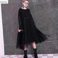 Casual Black Rivet Dress Women 2019 Spring Irregular Vestidos Loose Dress Patchwork Oversize Pregnant Casual Dresses LT081S50