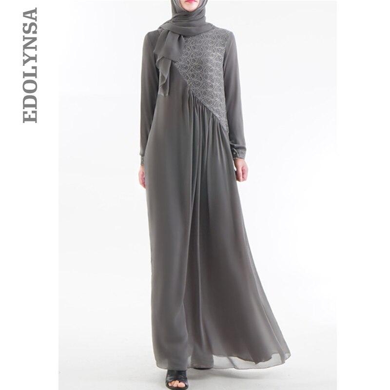 2019 Modest Islamic Clothing Elegant Irregular Patchwork Embroidered Muslim Dress Turkish Abaya Long Robe Moroccan Kaftan